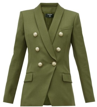 Balmain Double-breasted Wool Blazer - Womens - Khaki