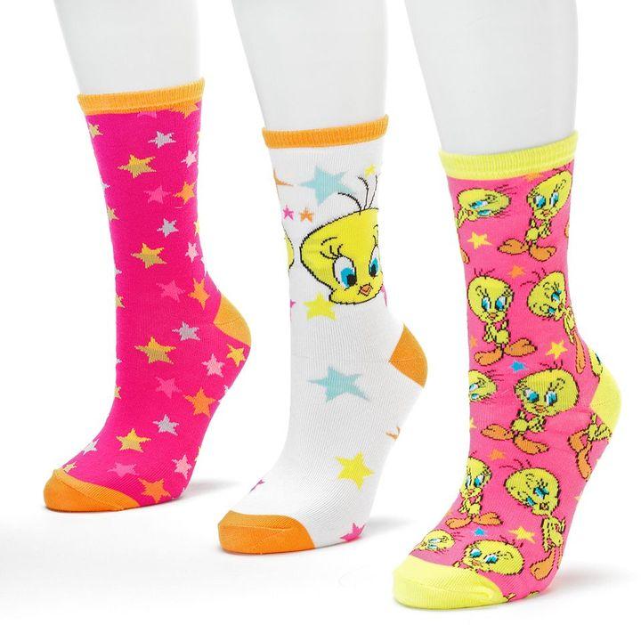Tweety bird 3-pk. stars crew socks