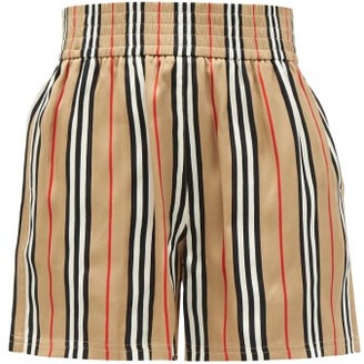 Burberry Marsett Icon-striped Silk Shorts - Beige Multi