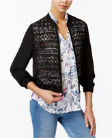 Amy Byer Juniors' Lace-Front Bomber Jacket
