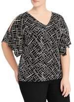 Lauren Ralph Lauren Plus Handkerchief Sleeve Jersey Cold Shoulder Top