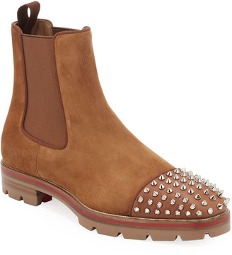 Christian Louboutin Men's Melon Spikes Red Sole Chelsea Boots