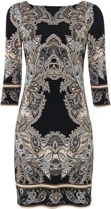 Wallis PETITE Black Paisley Prin Shift Dress