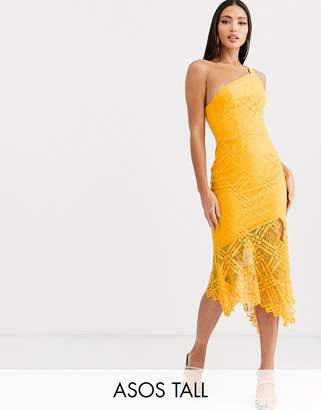 Asos Tall DESIGN Tall one shoulder grid lace midi dress-Yellow