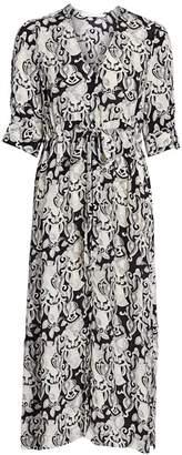 See by Chloe Her Floral-Print Stretch-Silk A-Line Midi Dress