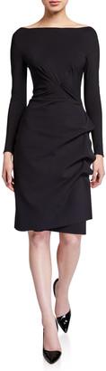Chiara Boni Cassandre Boat-Neck Long-Sleeve Gathered Dress
