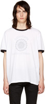 Saint Laurent White 'Université' Logo Ringer T-Shirt