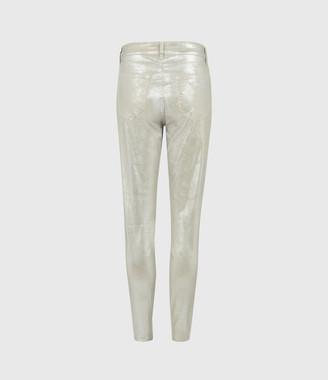 AllSaints Miller Mid-Rise Foil Jeans, Silver