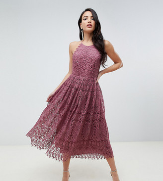 Asos Tall ASOS DESIGN Tall lace pinny scallop edge prom midi dress