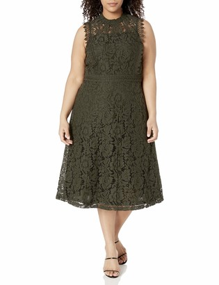 City Chic Women's Apparel Women's Plus Size High Necked Dress with lace Overlay