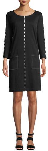 Joan Vass Scoop-Neck 3/4-Sleeve Cotton Interlock Dress w/ Patch Pockets & Studded Trim