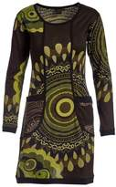 Aller Simplement Brown & Green Abstract Two-Pocket Shift Dress