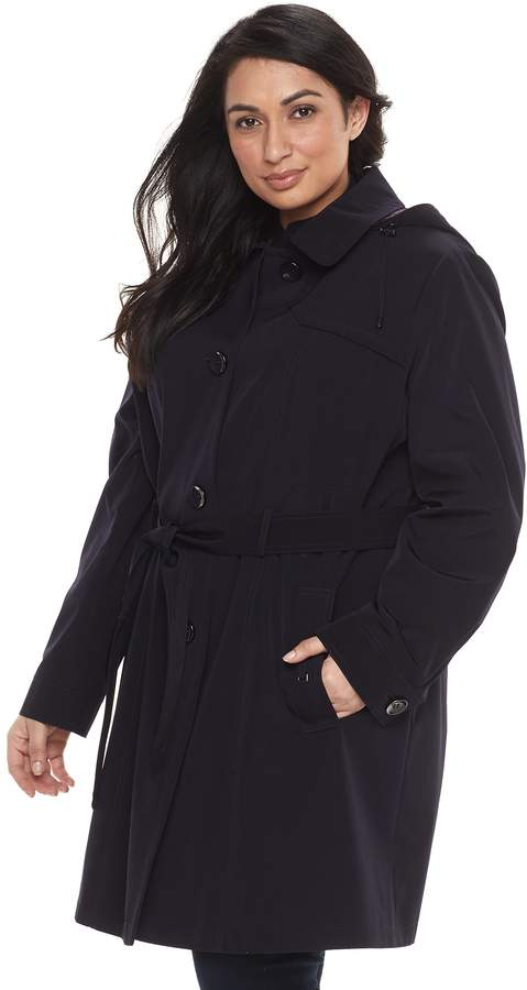 Gallery Plus Size Hooded Ruffle-Hem Trench Coat