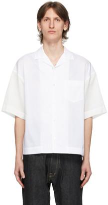 Fumito Ganryu White Open Collar Combination Shirt