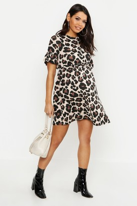 boohoo Maternity Leopard Smock Dress