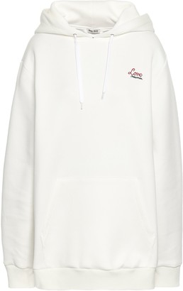 Miu Miu Appliqued Embroidered Cotton-blend Scuba Hoodie
