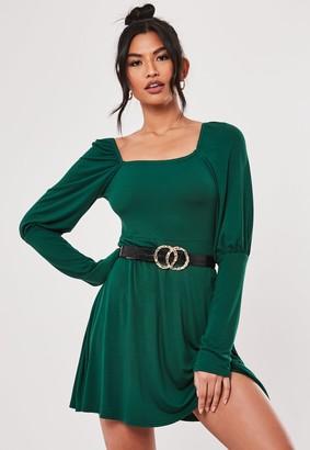 Missguided Green Milkmaid A Line Mini Dress