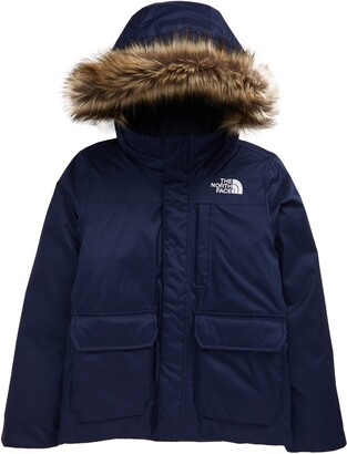 The North Face Kids' Greenland Waterproof 550-Fill-Power Down Jacket with Faux Fur Trim