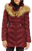 Preston & York Diamond Faux Fur Trim Insert Puffer Coat