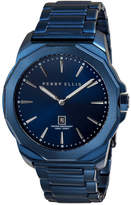 Perry Ellis Decagon Navy Leather Watch