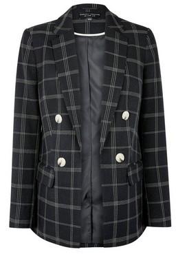 Dorothy Perkins Womens Black Checked Blazer Jacket, Black