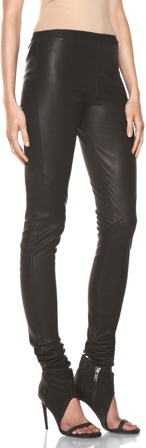 Rick Owens Stretch Leather Pant in Black