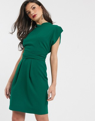 Closet London tie back mini dress in emerald green