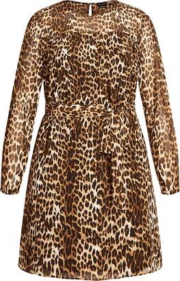 City Chic Leopard Print Long Sleeve Dress