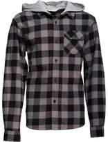 Kangaroo Poo Boys Yarn Dyed Checked Flannel Shirt With Jersey Hood Charcoal Check
