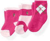 Ralph Lauren Girl Argyle Sport Sock 3-Pack
