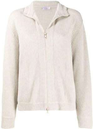 Brunello Cucinelli Zip-Front Knitted Cardigan
