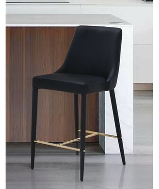 Willa Arlo Interiors Cleve Upholstered Vanity Stool Color: Black