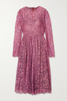 Dolce & Gabbana Pleated Chantilly Lace Midi Dress - Pink