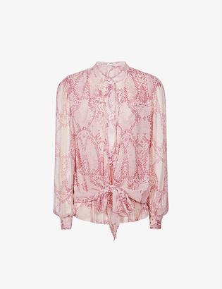Reiss Erica snakeskin-print crepe blouse