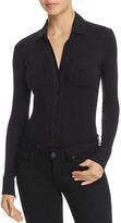 Donna Karan Long Sleeve Button-Down Bodysuit