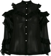 Robert Rodriguez cut-out shoulders ruffled shirt - women - Silk - 0