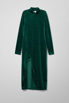 Weekday Bonita Velvet Dress - Green