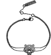 Kenzo Ruthenium Plated Sterling Silver Cut Out Tiger Bracelet
