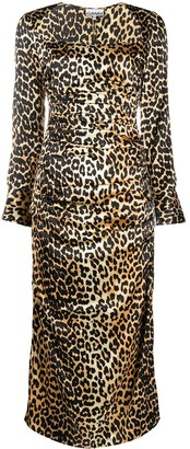 Ganni Leopard-Print Satin Midi Dress