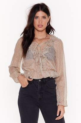 Nasty Gal Womens Crinkle Sheer Lace Up Blouse - Nude