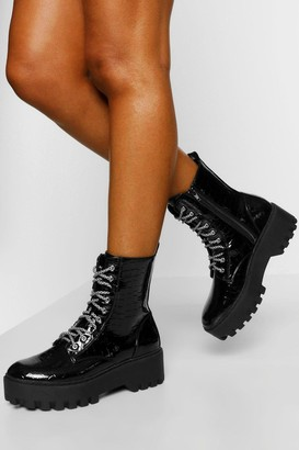 boohoo Lace Up Chunky Cleated Hiker Boot