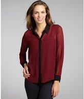 Walter burgundy and black crepe 'Ellie' long sleeve blouse