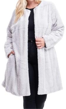 Fever Plus Size Flyaway Faux-Fur Coat