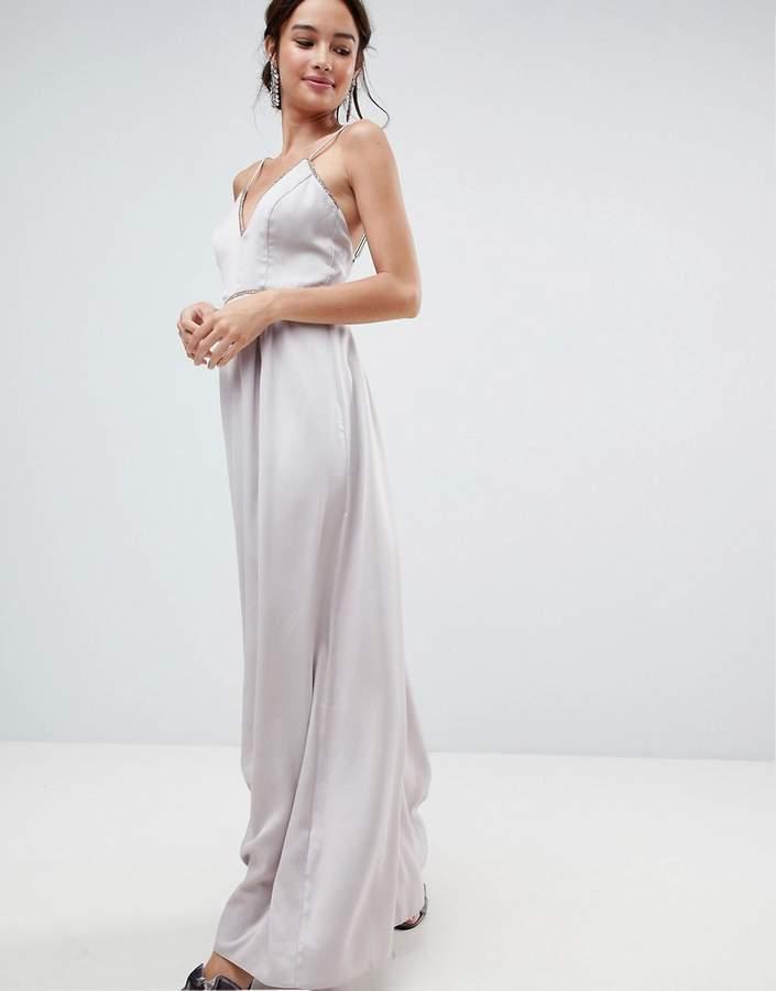 Asos Design Embellished Trim Deep Plunge Cami Maxi Dress