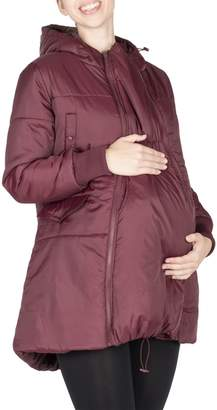 Modern Eternity Faith 3-in-1 Mid-thigh Maternity Bomber-Style Puffer Jacket
