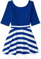 Ralph Lauren 2-6X Ponte Top & Striped Skirt Set
