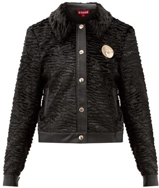 STAUD Point-collar Faux-fur Jacket - Black
