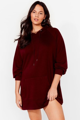 Nasty Gal Womens All Night Longline Plus Oversized Hoodie Dress - Berry