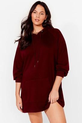 Nasty Gal Womens All Night Longline Plus Sweatshirt Dress - Berry
