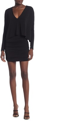 BCBGMAXAZRIA Long Sleeve V-Neck Ruched Dress